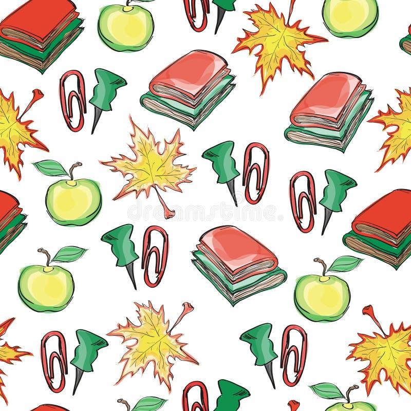 手拉的与秋叶、苹果、书和夹子的学校无缝的样式 库存例证