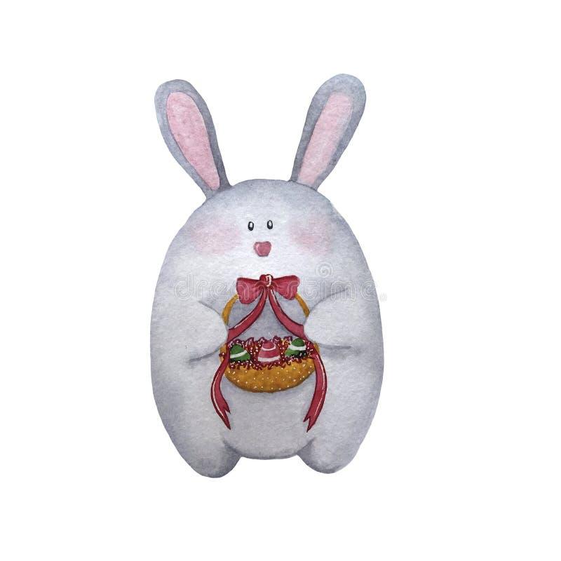 手拉的与篮子的水彩灰色复活节兔子 向量例证