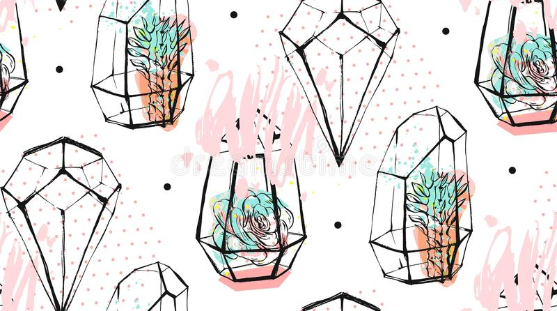 手拉的与粗砺的在白色淡色的隔绝的玻璃容器和多汁植物的传染媒介摘要无缝的样式 皇族释放例证