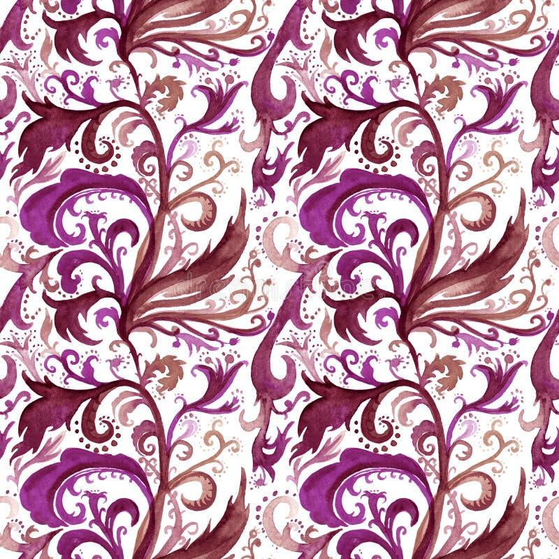 手拉的与紫色和棕色花饰,卷毛,波浪线,在a的乱画的摘要水彩无缝的样式 皇族释放例证