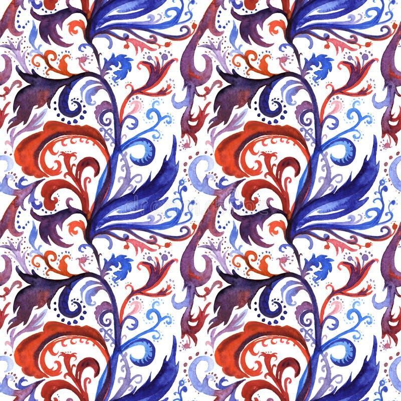 手拉的与红色,紫罗兰色和深蓝花饰,卷毛,波浪线的摘要水彩无缝的样式 库存例证
