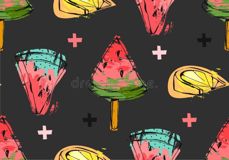 手拉的与西瓜切片、冰淇凌、柠檬和十字架的传染媒介摘要异常的夏时无缝的样式 皇族释放例证