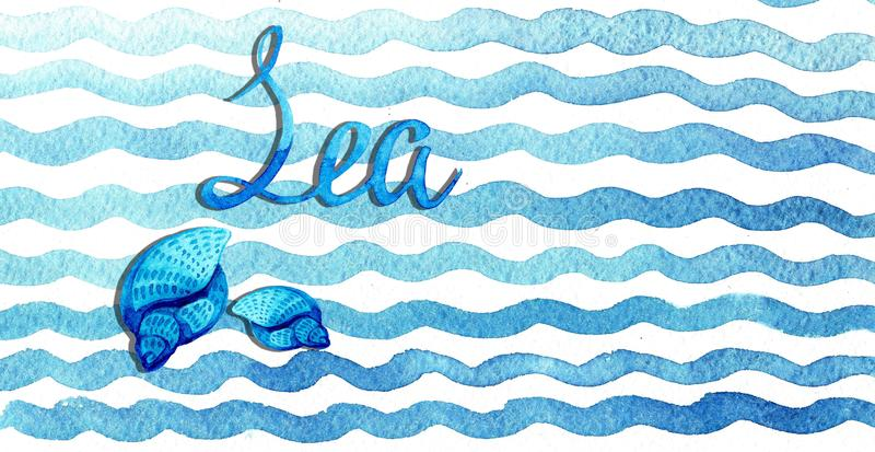 手拉的与贝壳的水彩蓝色在白色背景的波浪和字法 免版税库存照片
