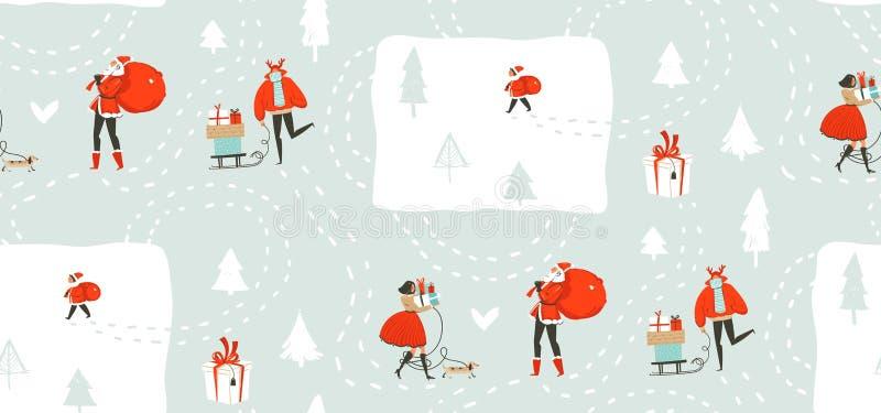 手拉的与走在冬天的人的传染媒介摘要乐趣圣诞快乐时间动画片例证无缝的样式 皇族释放例证