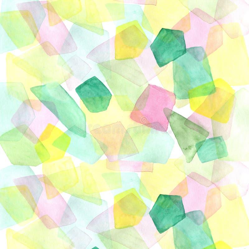 手拉的与透明色的多角形的水彩几何背景 库存例证