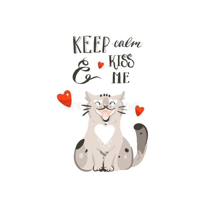手拉的与逗人喜爱猫,心脏和手写的传染媒介摘要动画片愉快的情人节概念例证卡片 向量例证