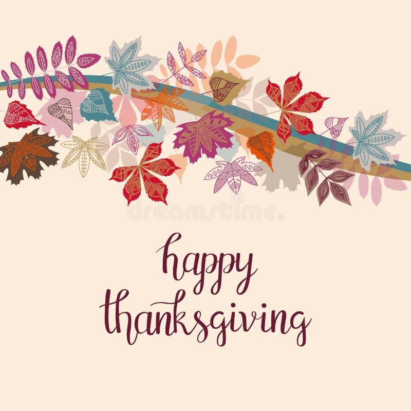 手拉的与逗人喜爱的五颜六色的叶子的秋天愉快的感恩印刷术海报在平的样式 库存例证