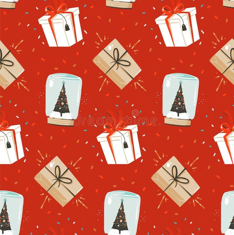 手拉的与逗人喜爱的传染媒介摘要圣诞快乐和新年快乐时间动画片北欧无缝的样式 皇族释放例证