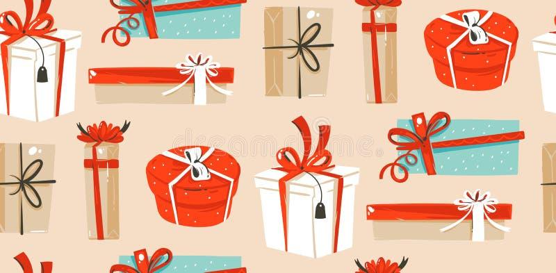 手拉的与逗人喜爱的减速火箭的葡萄酒的传染媒介摘要乐趣圣诞快乐时间动画片例证无缝的样式 向量例证