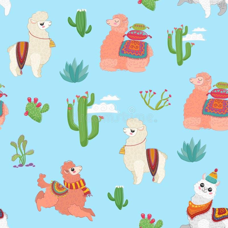 手拉的与逗人喜爱的喇嘛羊魄、仙人掌和其他植物草本的传染媒介无缝的样式 库存例证