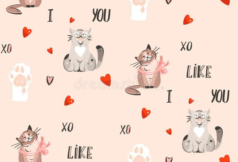 手拉的与逗人喜爱的猫的传染媒介摘要现代动画片愉快的情人节概念例证无缝的样式 向量例证
