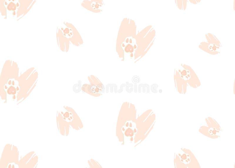 手拉的与逗人喜爱的猫的传染媒介摘要现代动画片愉快的情人节概念例证无缝的样式 皇族释放例证