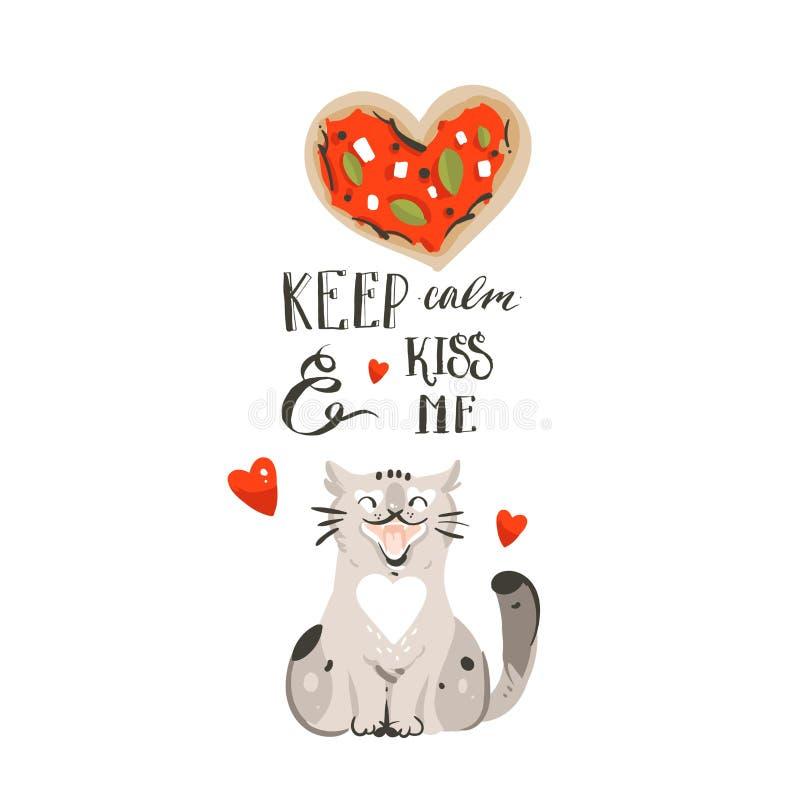 手拉的与逗人喜爱的猫,薄饼心脏的传染媒介摘要动画片愉快的情人节概念例证卡片和 向量例证