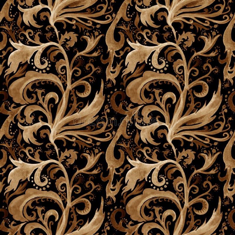 手拉的与金,棕色和茶黄花饰,卷毛,波浪线,在黑色的乱画的摘要水彩无缝的样式 库存例证