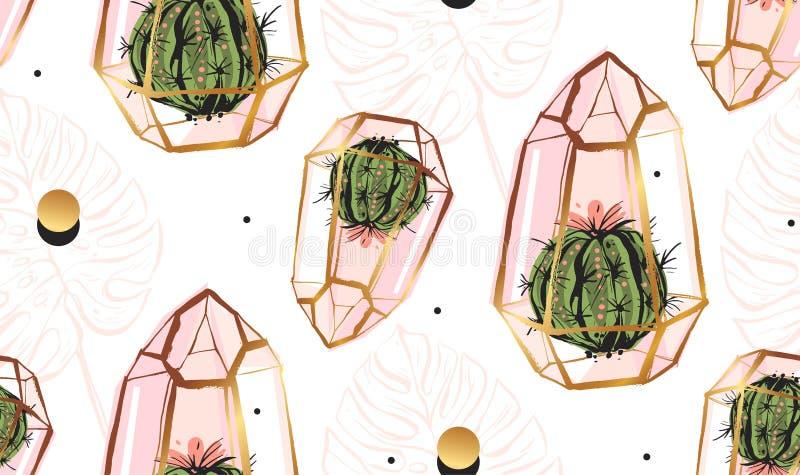 手拉的与金黄玻璃容器、圆点纹理、热带棕榈叶和仙人掌的传染媒介摘要无缝的样式 库存例证