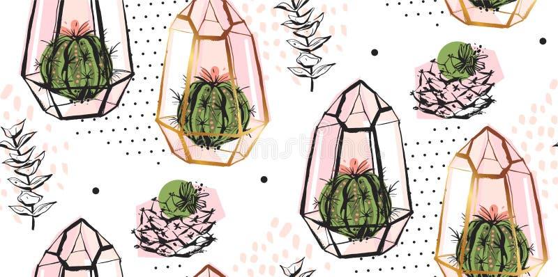 手拉的与金黄玻璃容器、圆点纹理和仙人掌植物的传染媒介摘要无缝的样式淡色的 向量例证