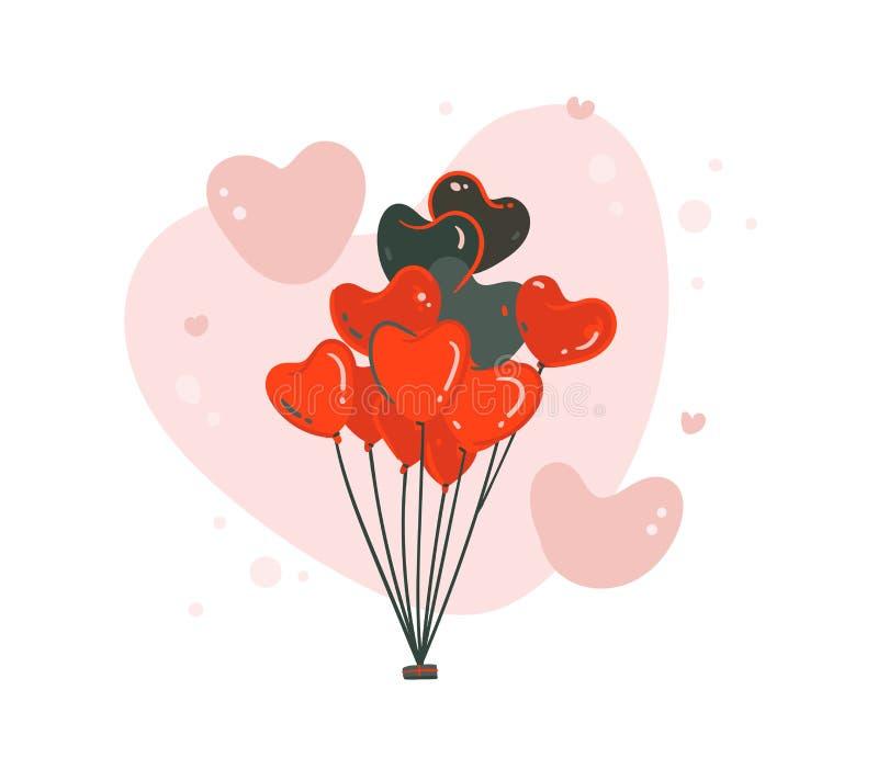 手拉的与飞行心脏的传染媒介摘要动画片现代图表愉快的情人节概念例证艺术卡片 皇族释放例证