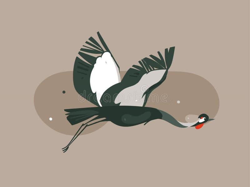 手拉的与飞行起重机鸟的传染媒介摘要动画片现代图表非洲徒步旅行队自然概念例证艺术 库存例证