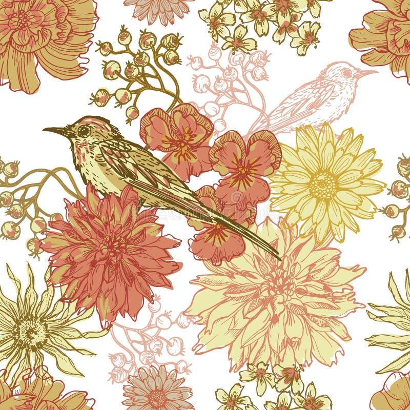 手拉的与鸟的葡萄酒植物的无缝的样式 库存例证