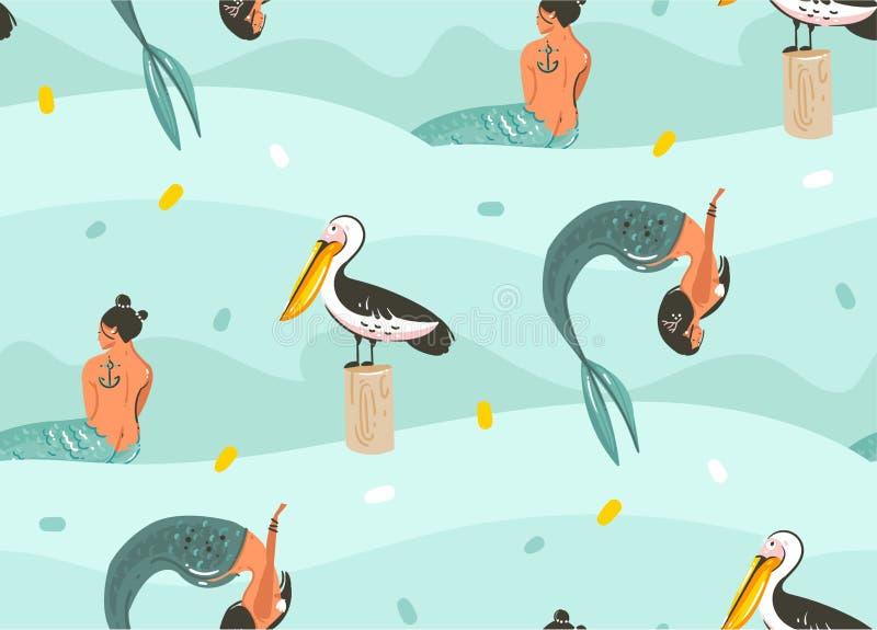 手拉的与鹈鹕鸟、鱼和花花公子的传染媒介摘要动画片图表夏时水下的例证无缝的样式 向量例证