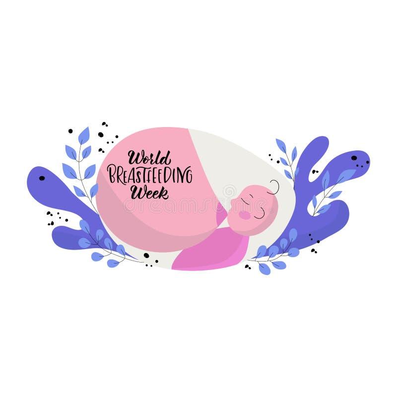 手拉的世界哺乳的星期 向量例证