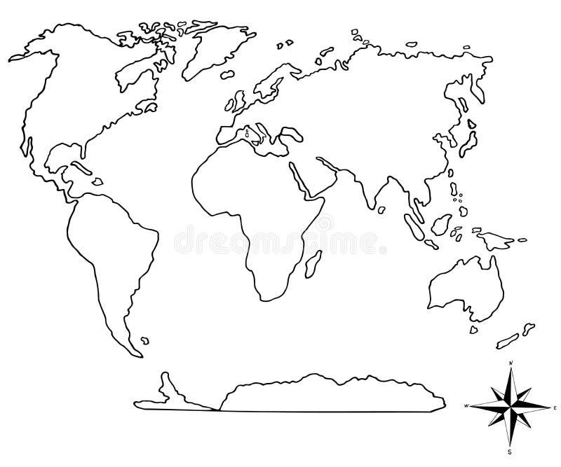 手拉的世界地图和的指南针.