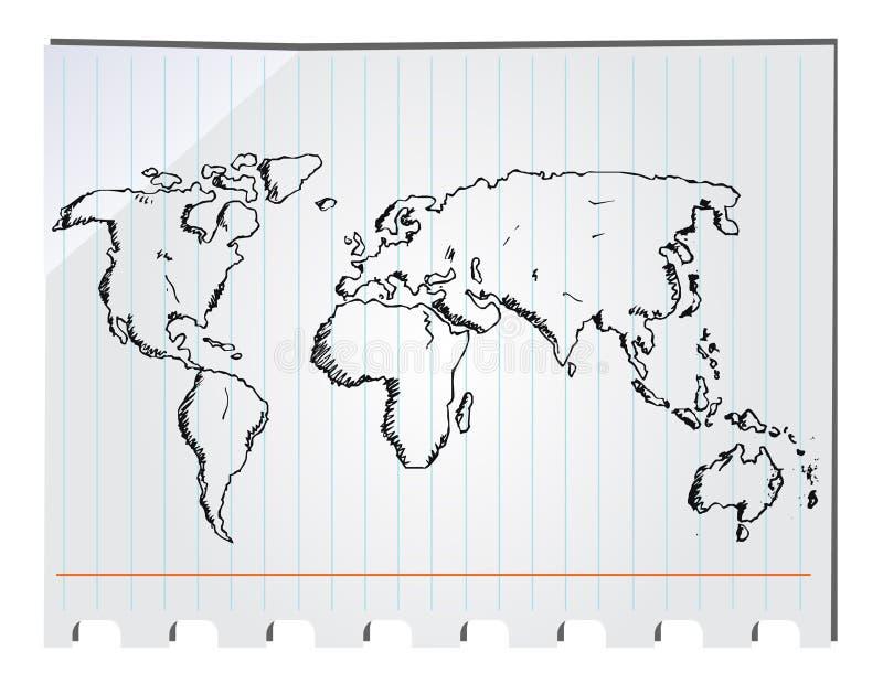手拉的世界地图 皇族释放例证