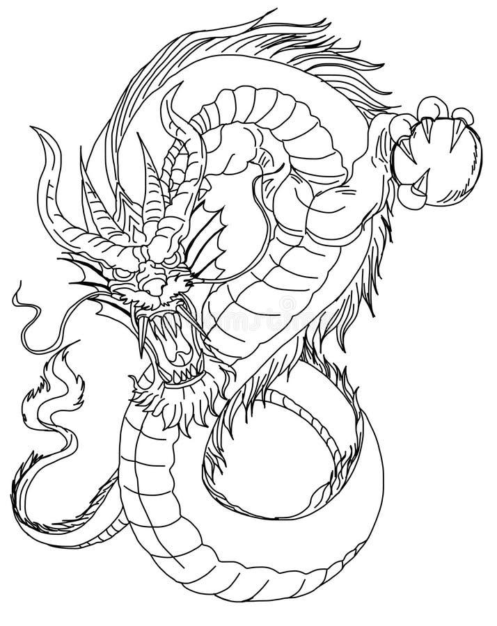 download 手拉的中国龙纹身花刺设计 库存例证.
