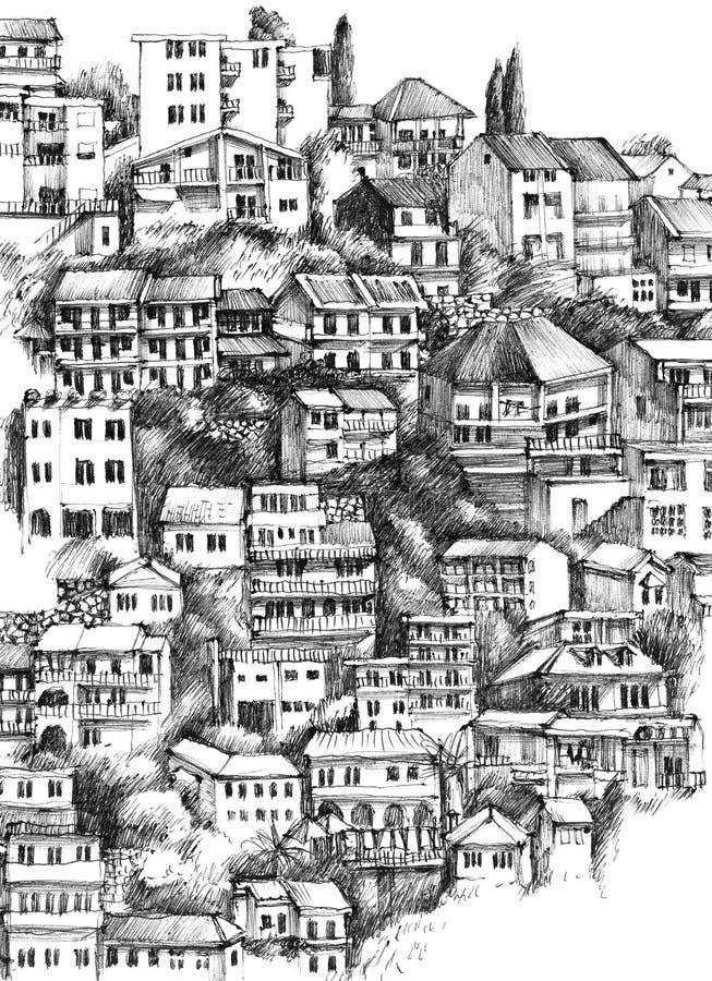 手拉的乌尔齐尼房子,黑山 库存例证