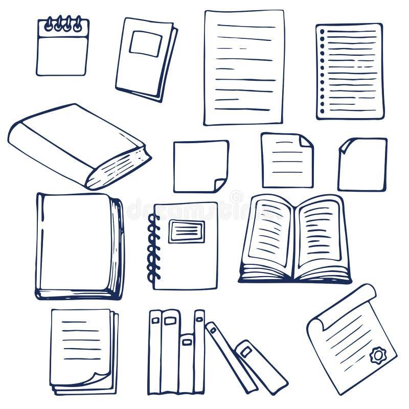 手拉的书、文件、笔记本和纸片 库存例证