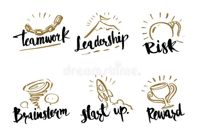 手拉的书法企业概念,配合,领导, 库存例证