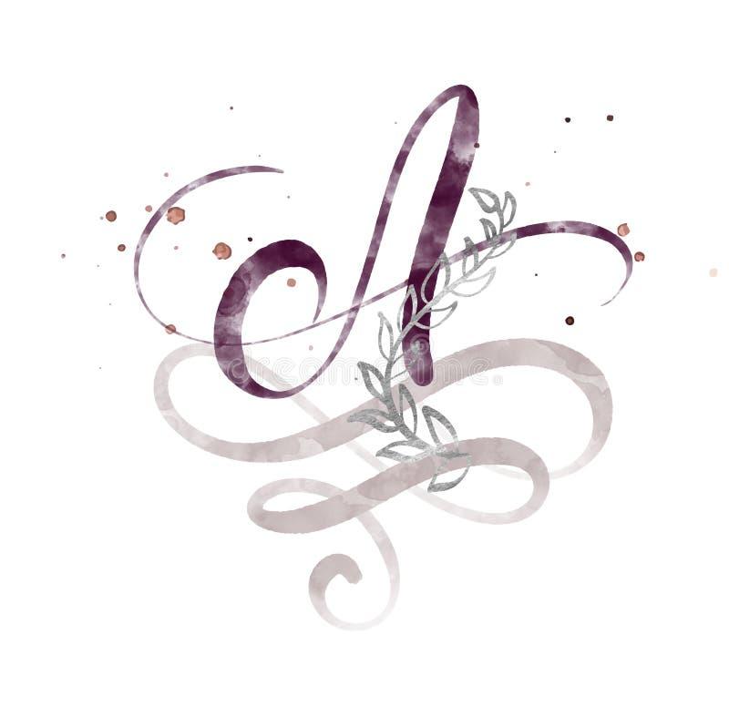 手拉的书法信件A 水彩剧本字体 被隔绝的信件写与墨水 手写的刷子样式 皇族释放例证