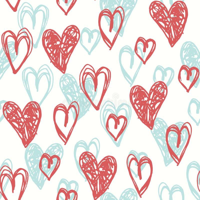 手拉的乱画减速火箭的调色板珊瑚心脏情人节传染媒介无缝的样式 逗人喜爱的Graffity背景 向量例证
