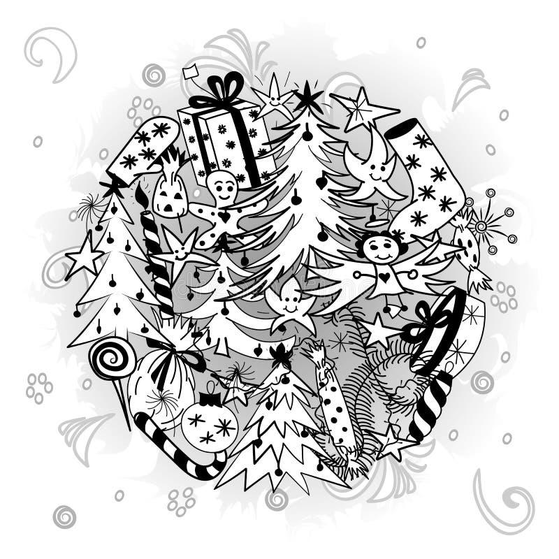 手拉的乱画寒假标志 冷杉木、礼物、蜡烛、甜点、天使和雪花儿童图画  库存例证