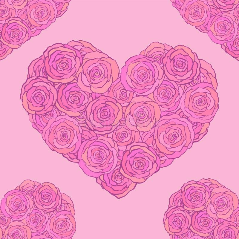 手拉的乱画无缝的样式,心脏由玫瑰做成在桃红色背景 向量例证