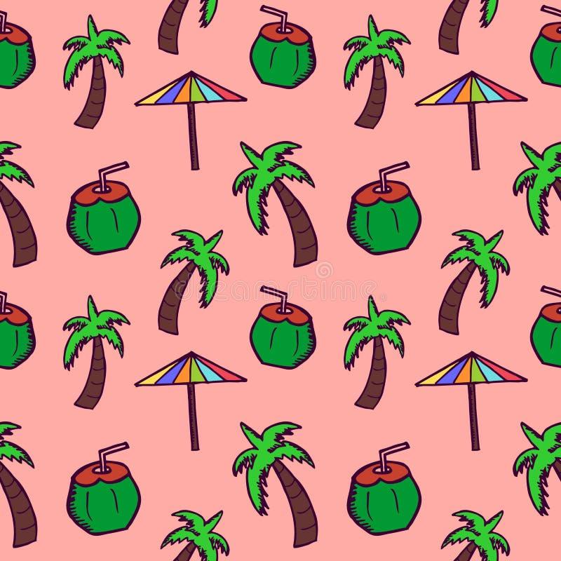 手拉的乱画椰子、伞和树无缝的样式 夏天背景包裹和纺织品印刷品 皇族释放例证
