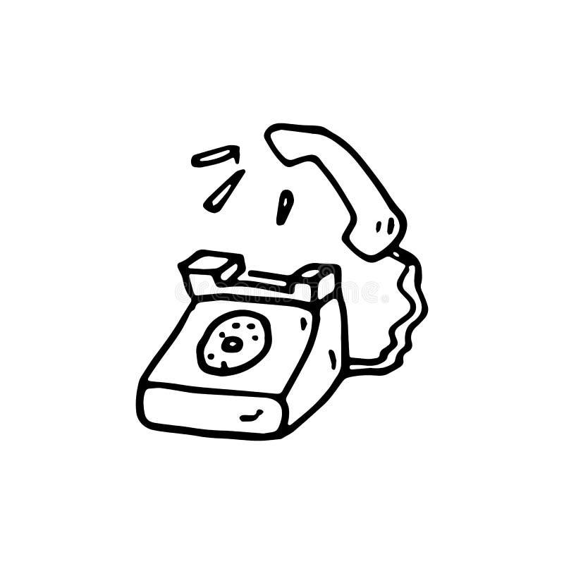 手拉的乱画电话象 手拉的黑剪影 标志S 皇族释放例证