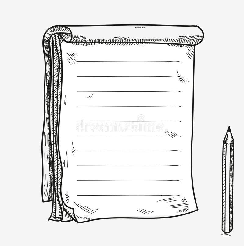 手拉的乱画剪影开放笔记本,清楚的页 库存例证