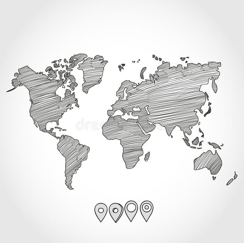 手拉的乱画剪影政治世界地图和 库存例证
