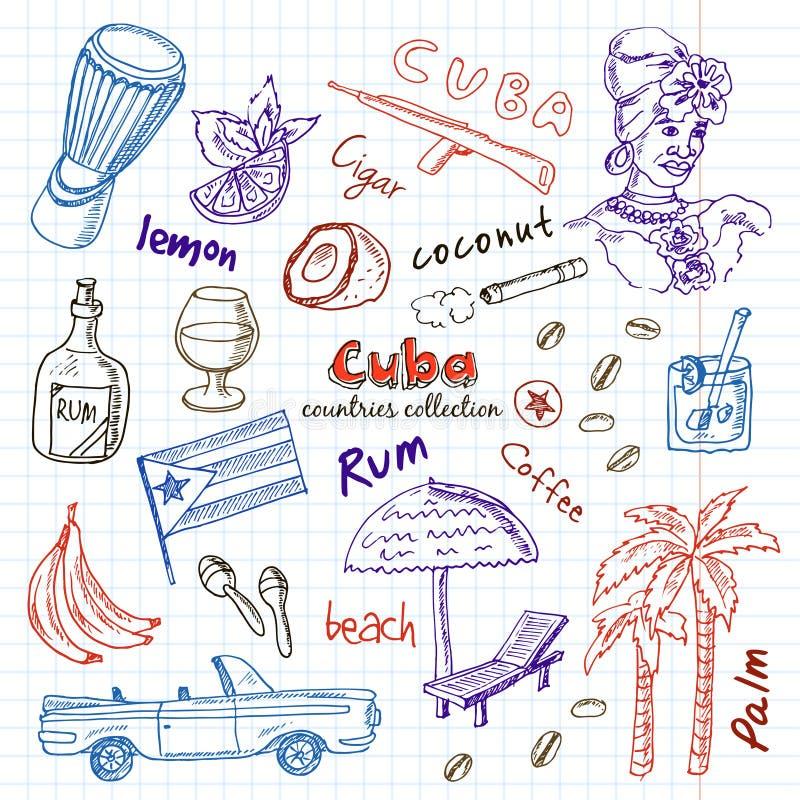 手拉的乱画古巴旅行集合 向量例证