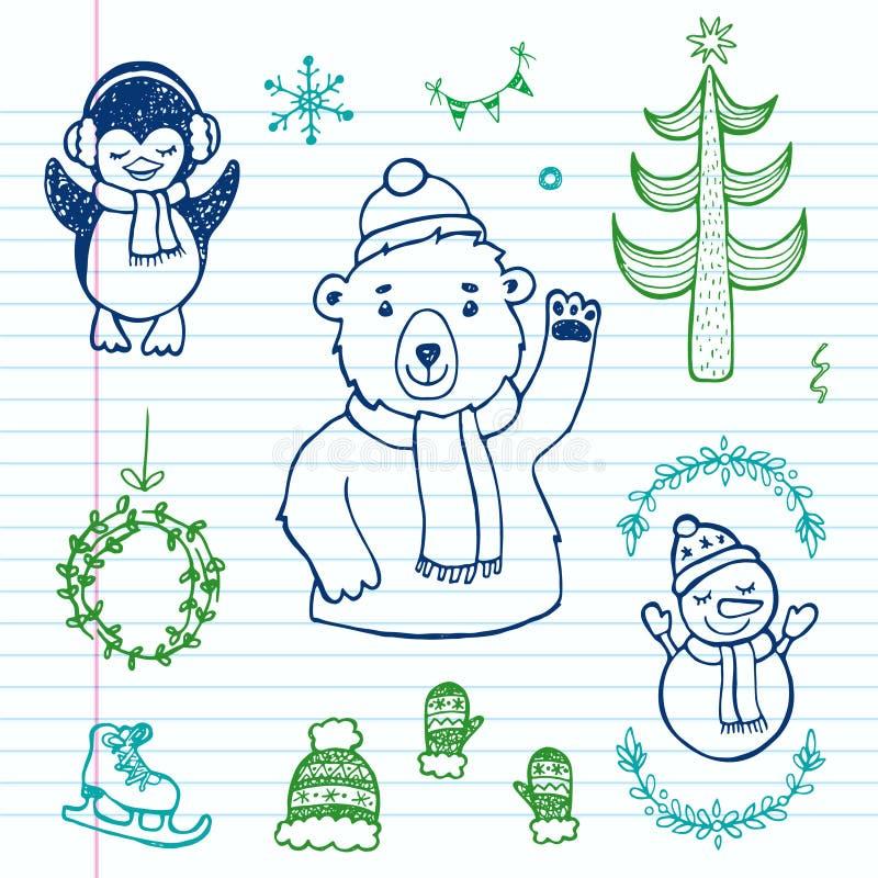 手拉的乱画圣诞节集合 库存图片