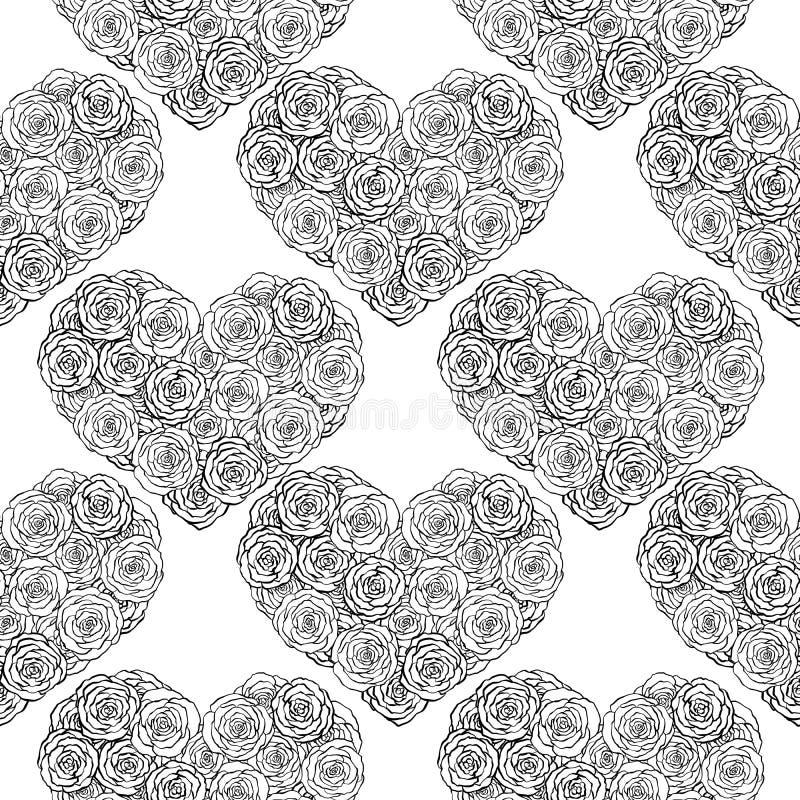 手拉的乱画无缝的样式,心脏由玫瑰做成在白色背景 库存例证