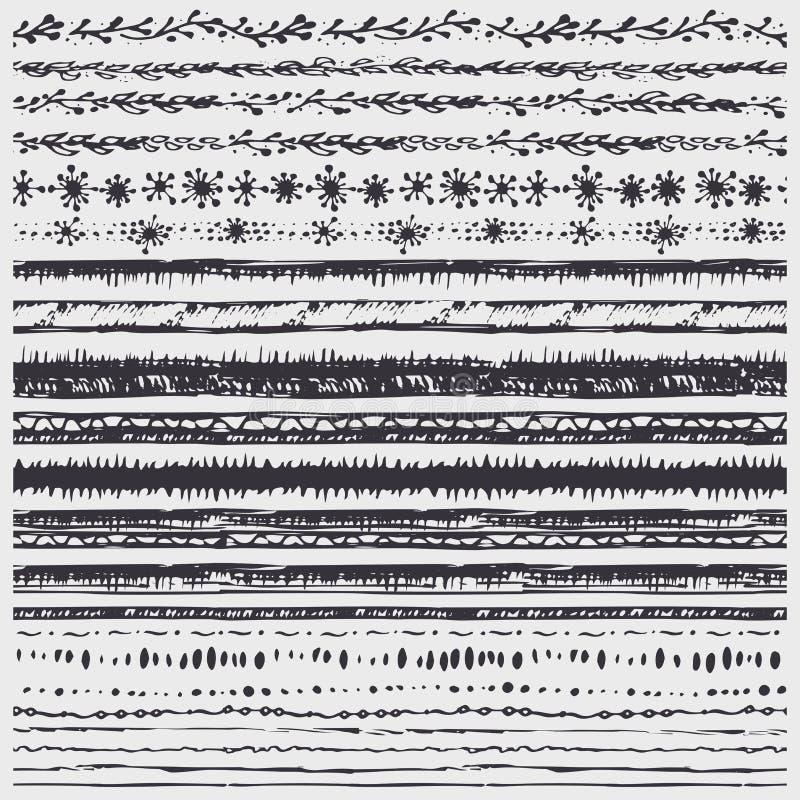 手拉的乱画无缝的边界线 艺术性的画笔 投反对票 向量例证