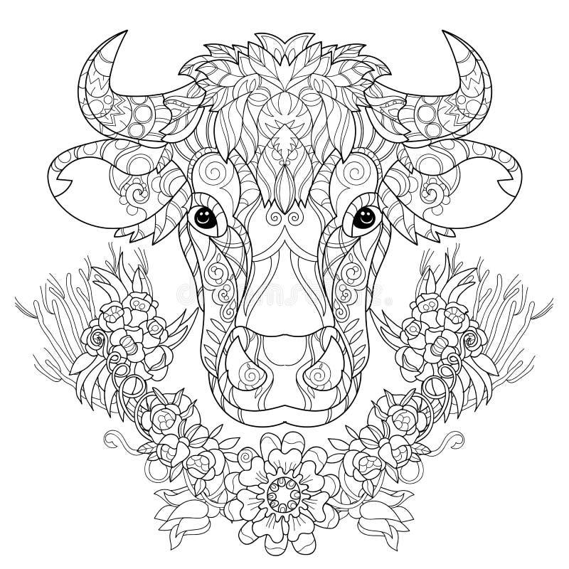 手拉的乱画概述母牛头 库存例证