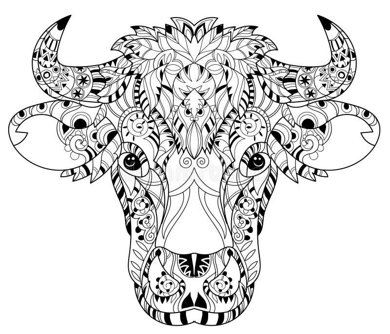 手拉的乱画概述母牛头 向量例证