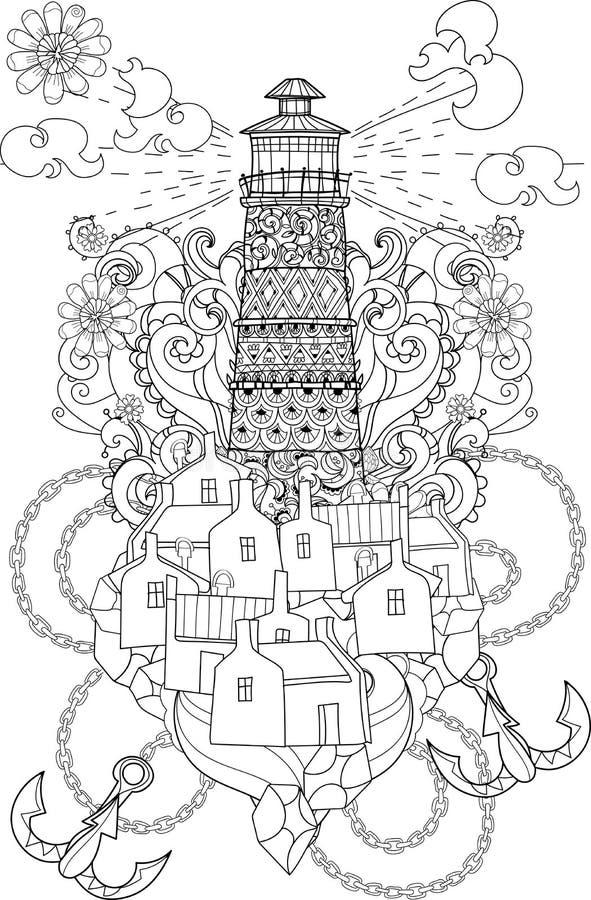 手拉的乱画概述灯塔boho 向量例证