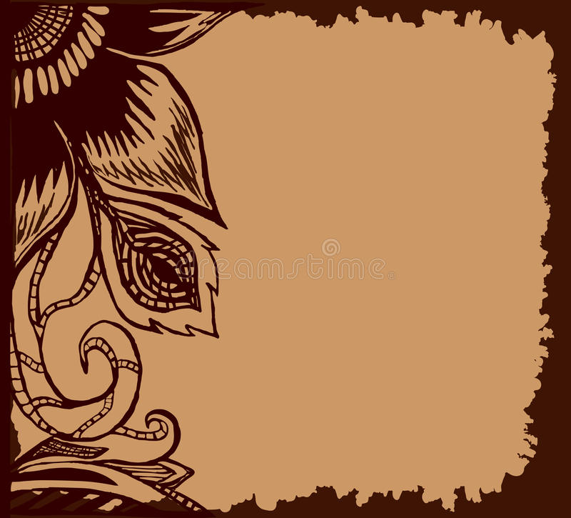 手拉的乱画花背景 能为邀请或scrapbooking使用 皇族释放例证