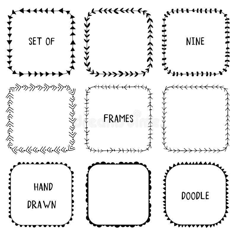 手拉的乱画装饰物框架 向量 库存例证