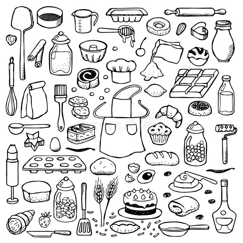 手拉的乱画设置与面包店元素 向量例证