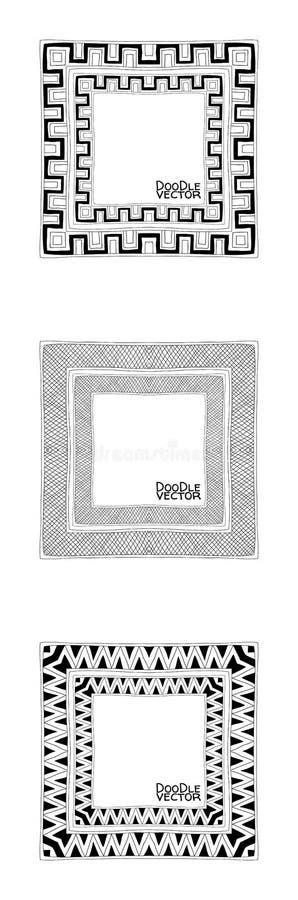手拉的乱画边界框架 向量例证